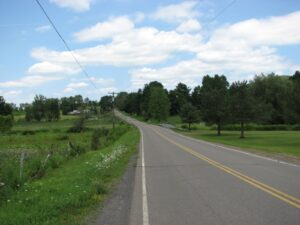 Looking north on Lake Rd at Jim Schug Rail Trail