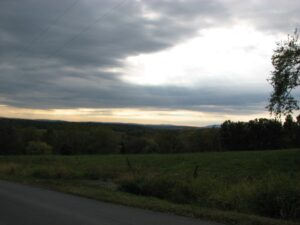 Dark clouds over Connecticut Hill Rd
