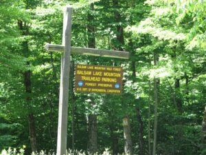 Balsam Lake Mountain Trailhead parking area sign
