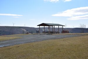 Pavilion and sign boards constructed by Energy company for Howard Wind Farm on top of Spencer Hill - FLT M10