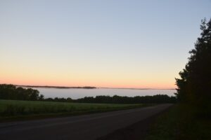 Fog settled in the valley at sunrise, looking north along Rushford Rd