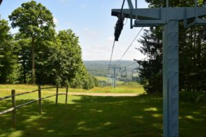 Looking down the ski lift from the top at Holimont Ski Area